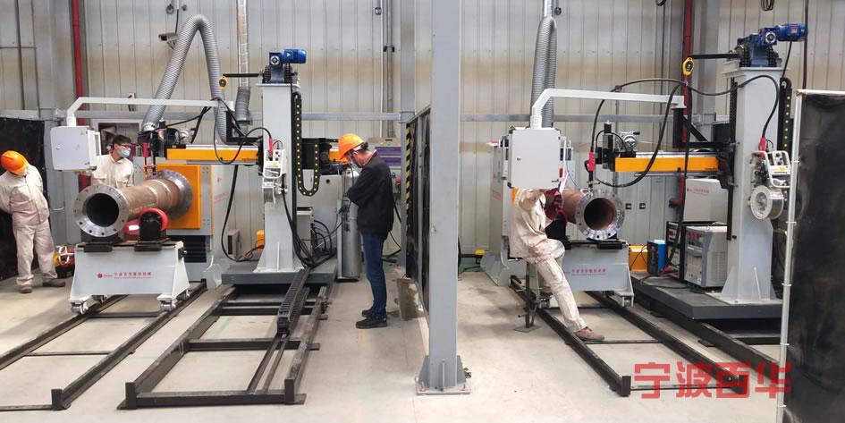 管道自动焊机用于燃气企业短管法兰焊接
